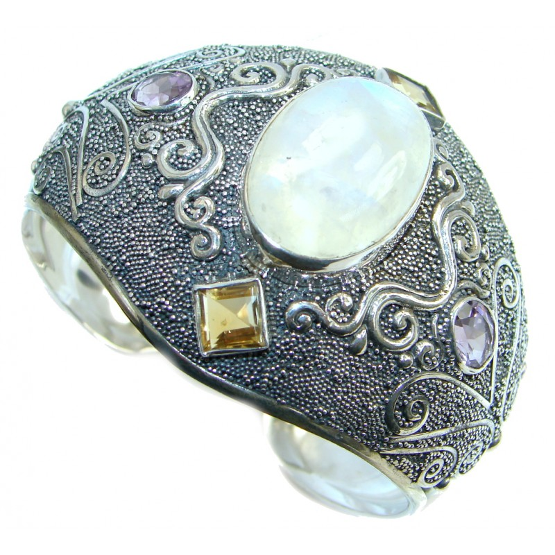 Real Treasure Bali Style Fire Moonstone Sterling Silver handcrafted Bracelet / Cuff