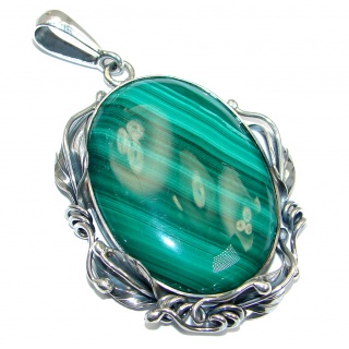 Vintage Style Green Malachite Oxidized Sterling Silver handmade Pendant