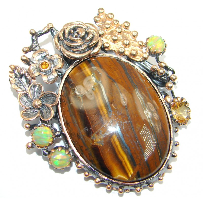 Oversized Golden Tigers Eye Opal Gold plated over Sterling Silver handmade Pendant