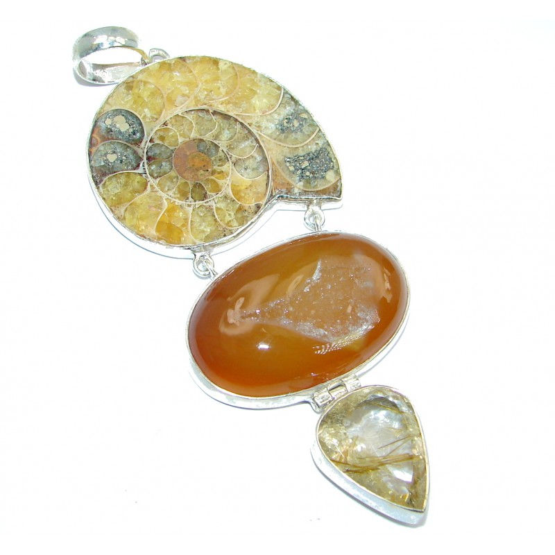 Large 3 3/4 inches long Natual Ammonite Rutilated Quartz Fossil Sterling Silver Pendant