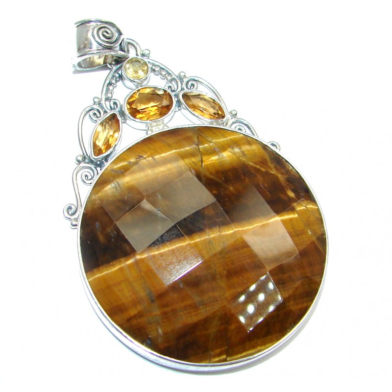 Awesome Golden Tigers Eye Citrine Sterling Silver handmade Pendant