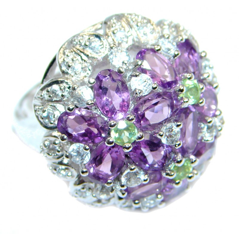 Large Natural Amethyst Sterling Silver Coctail Ring size 7 1/4