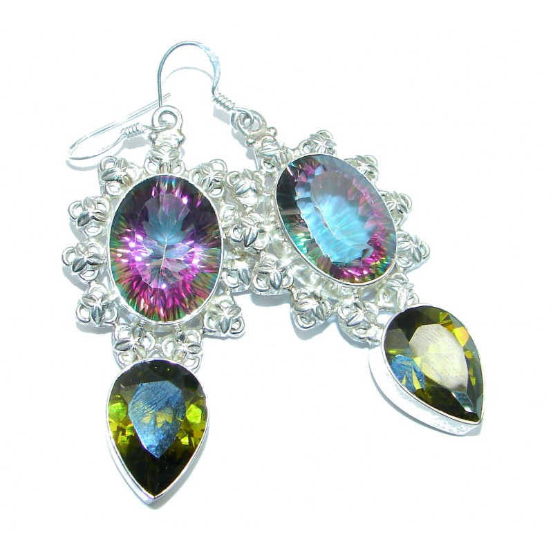 Chunky Rainbow Magic Cubic Zirconia Topaz Sterling Silver handmade earrings