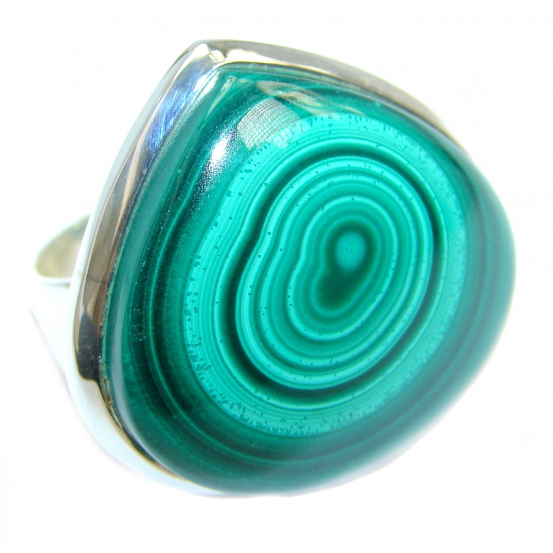 Natural AAA Green Malachite Sterling Silver ring s. 9 1/2