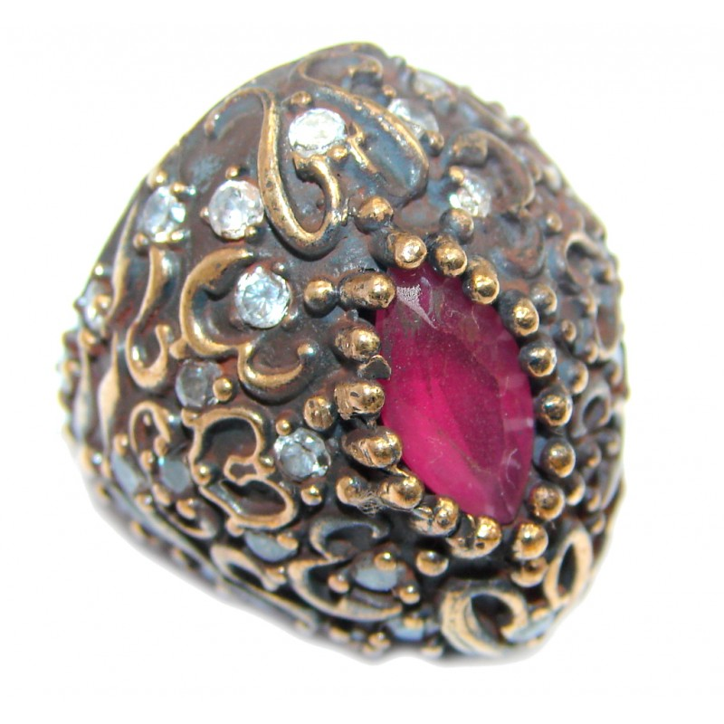 Large Victorian Style created Ruby & White Topaz Sterling Silver ring; s. 5