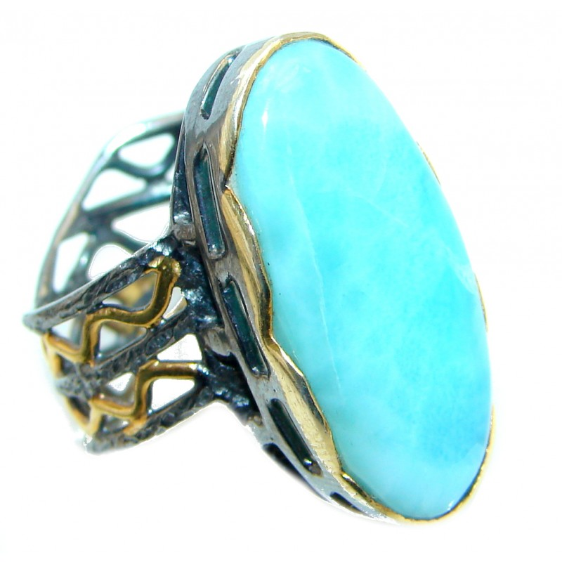 Solid Genuine Larimar Gold plated over Sterling Silver handmade Ring size 7