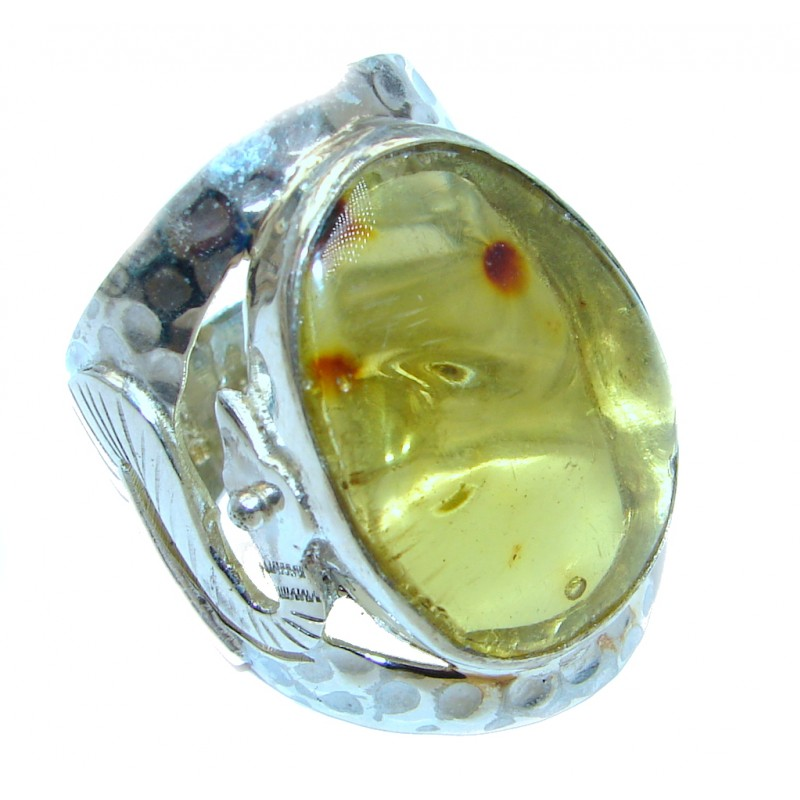 Huge Genuine Green Polish Amber Sterling Silver Ring s. 11 1/2