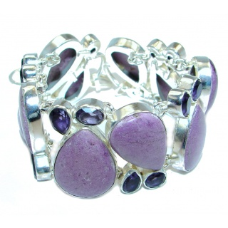 Lavender Beauty created Purple Sugalite & Amethyst Sterling Silver Bracelet