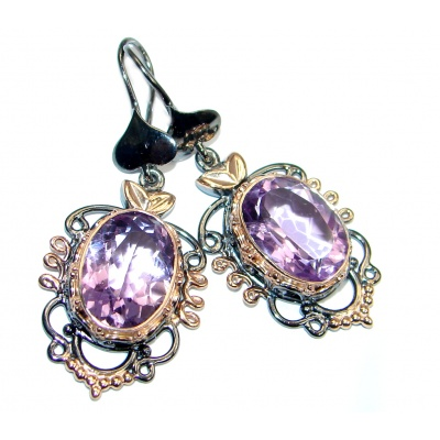 Genuine Amethyst Rose Gold plated over Sterling Silver handmade earrings