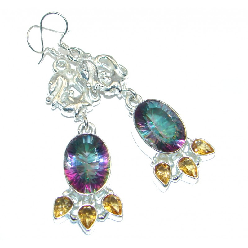Large Rainbow Magic Topaz Sterling Silver handmade earrings