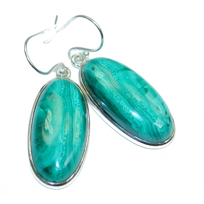 Authentic Green Malachite Sterling Silver handmade earrings