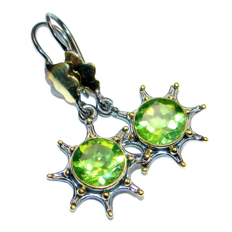 Amazing genuine Peridot Rose Gold Rhodium plated over Sterling Silver Earrings