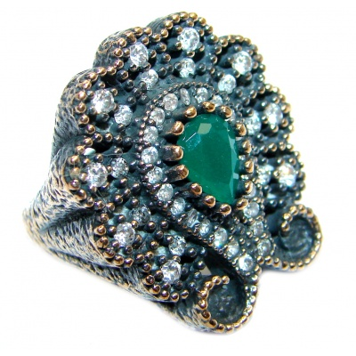 Victorian Style created Emerald & White Topaz Copper over Sterling Silver ring; s. 6 1/2