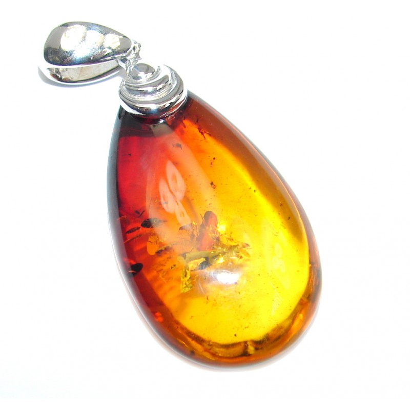 Day and Night natural Baltic Amber Sterling Silver handmade Pendant