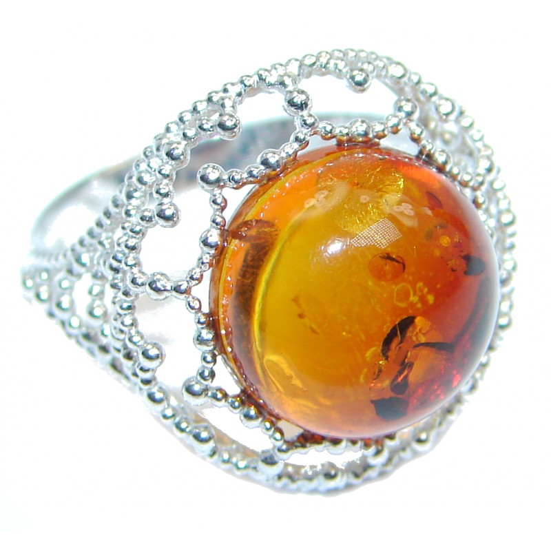 Genuine Baltic Polish Amber Sterling Silver handmade Ring size 6 1/2