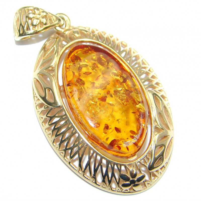 Vintage Design natural Baltic Amber Rose Gold plated with Sterling Silver handmade Pendant