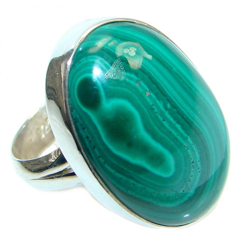 Natural AAA quality Green Malachite Sterling Silver ring size adjustable