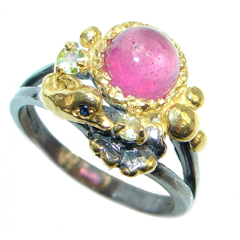 Fine Art Jewelry Ruby Gold plated over Sterling Silver Ring Size 7 1/4