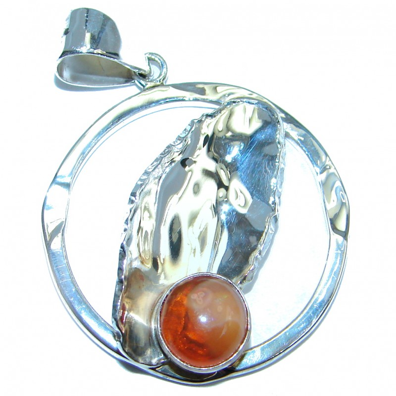 Mexican Fire Opal Hammered Sterling Silver handmade Pendant