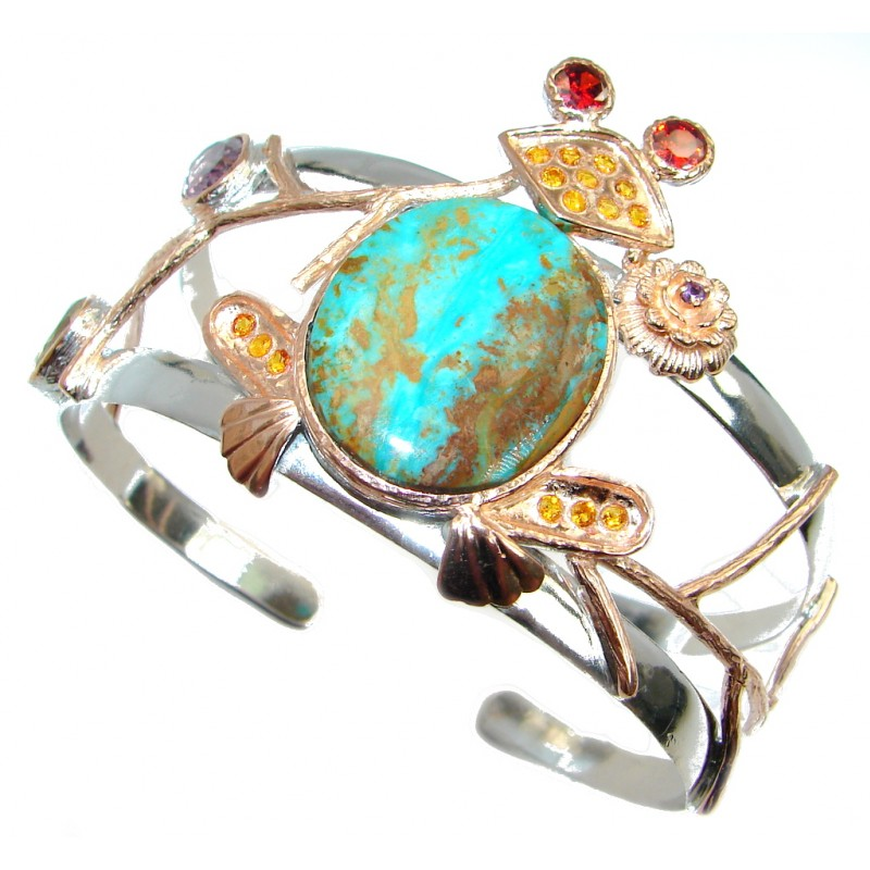 Lucky Frog Genuine Chrysocolla Gold plated over Sterling Silver handmade Bracelet Cuff