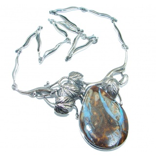 Perfect Storm Unique Boulder Opal Sterling Silver handcrafted necklace