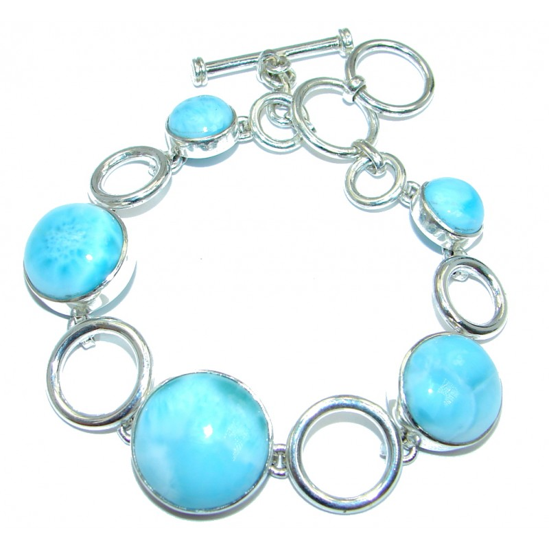 5 Planets Blue Larimar Oxidized Sterling Silver handmade Bracelet Cuff