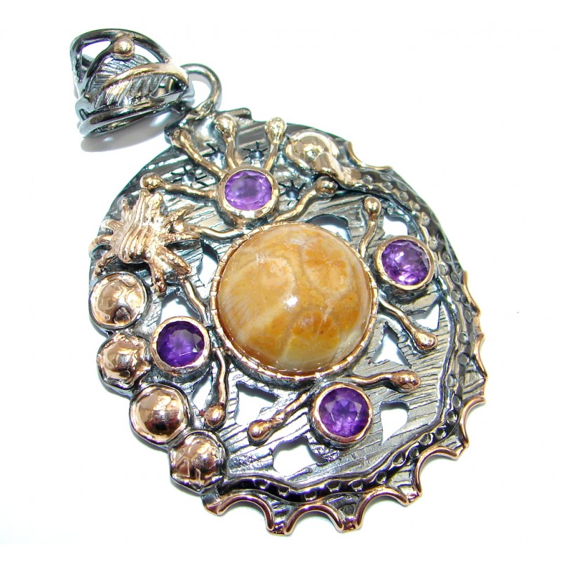 Natural Fossilized Coral Amethyst Gold plated over Sterling Silver Pendant