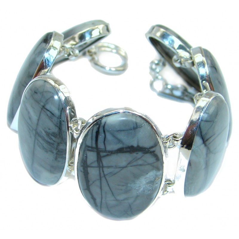 Very Unique Nature's Picasso Jasper Sterling Silver handmade Bracelet