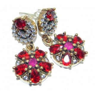 Victorian Style created Red Ruby Sterling Silver earrings