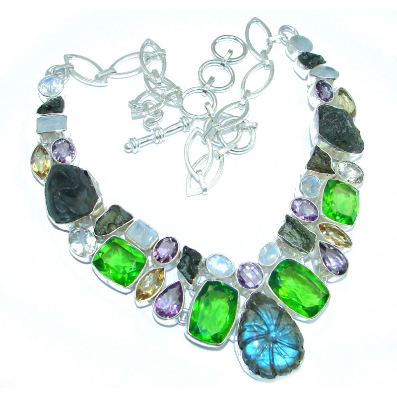 Sublime Labradorite Moldavite Quartz Sterling Silver handmade necklace