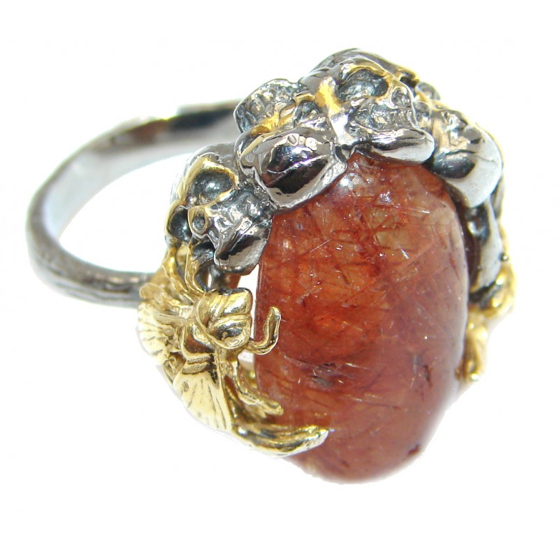 Dense Macabre Genuine Hessonite Garnet Sterling Silver handmade Ring size 7
