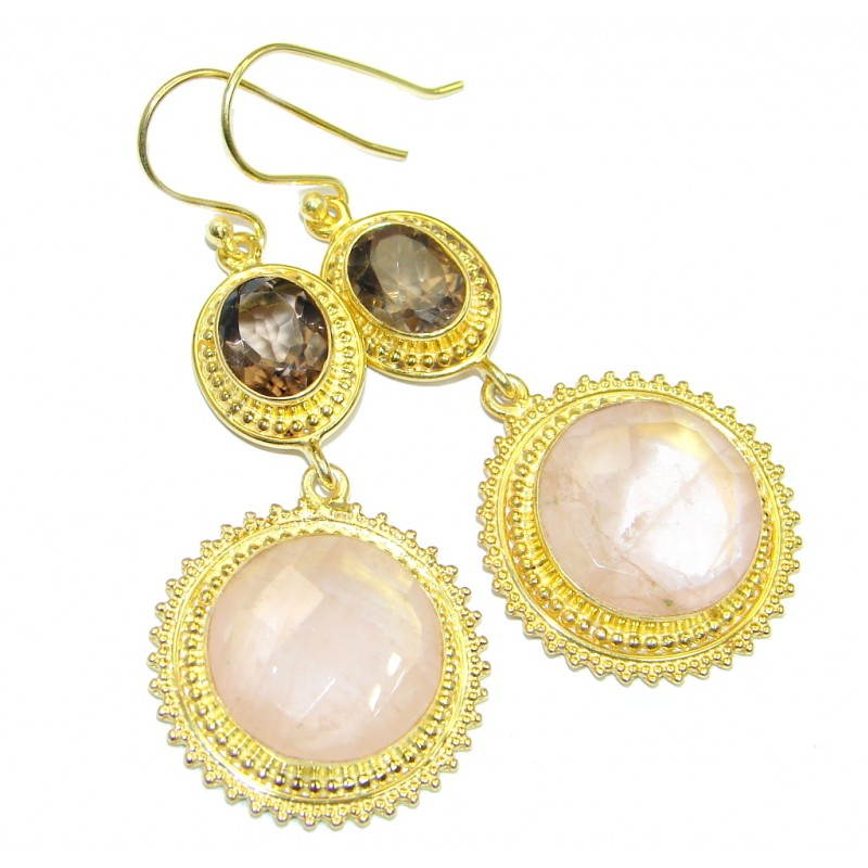 Pink Rose Quartz Smoky Topaz Gold over Sterling Silver earrings