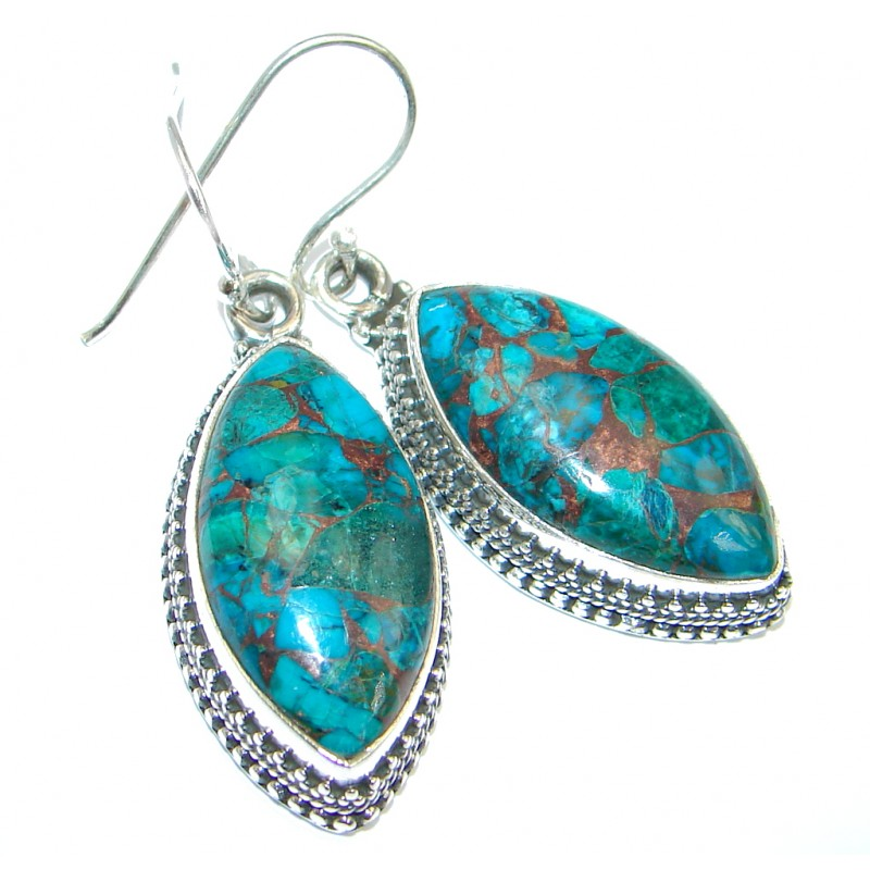 Perfect Blue Turquoise with copper vains Sterling Silver earrings