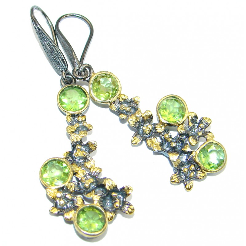 Floral genuine Peridot Gold Rhodium plated over Sterling Silver Earrings