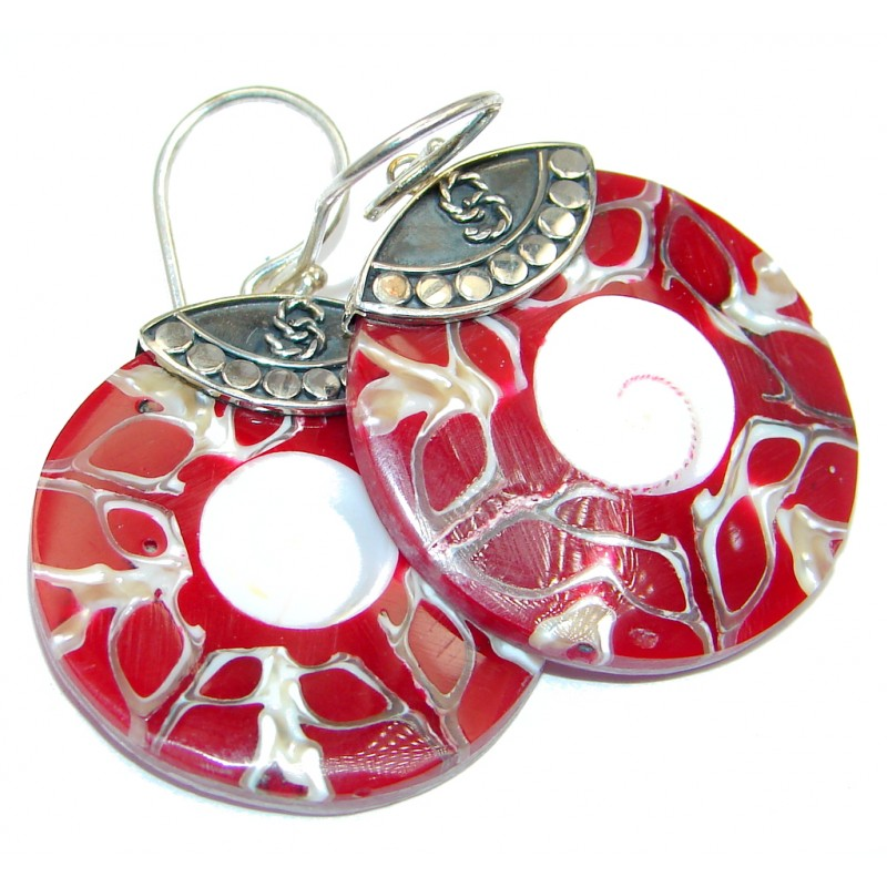 Simple Beauty Red Shell Sterling Silver earrings
