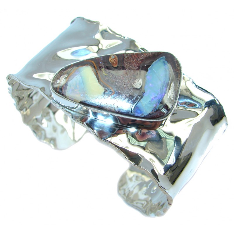 Norwegian Northern Lights Boulder Opal handmade Sterling Silver Bracelet / Cuff