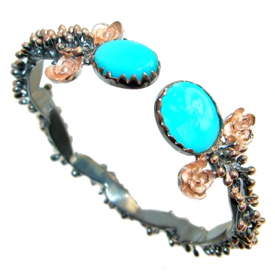 Genuine Sleeping Beauty Turquoise Two Tones Sterling Silver Bracelet / Cuff