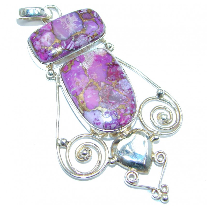Large Genuine Purple Turquoise Sterling Silver handmade Pendant
