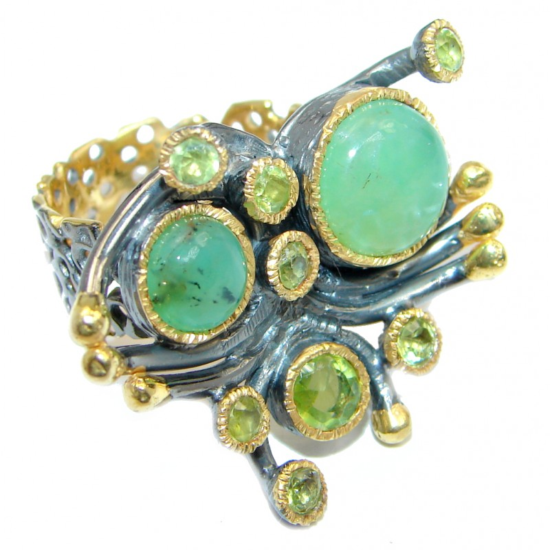 Large Moss Prehnite Peridot Gold plated over Sterling Silver ring; s. 8
