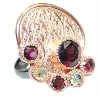 Genuine Garnet Citrine Gold plated over Sterling Silver Italy made ring size adjustable