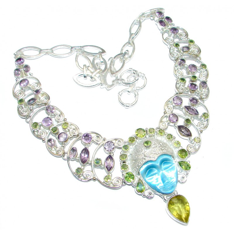 Large Aura Of Beauty Amethyst Peridot Silver Tone necklace
