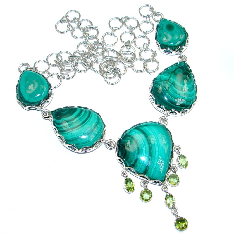Great Beauty Genuine Green Malachite Peridot Sterling Silver handmade necklace