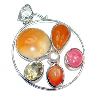 Universe Orange Carnelian Sterling Silver handcrafted Pendant