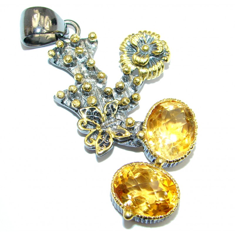 Fabulous Floral Design Citrine Gold plated over Sterling Silver handmade Pendant