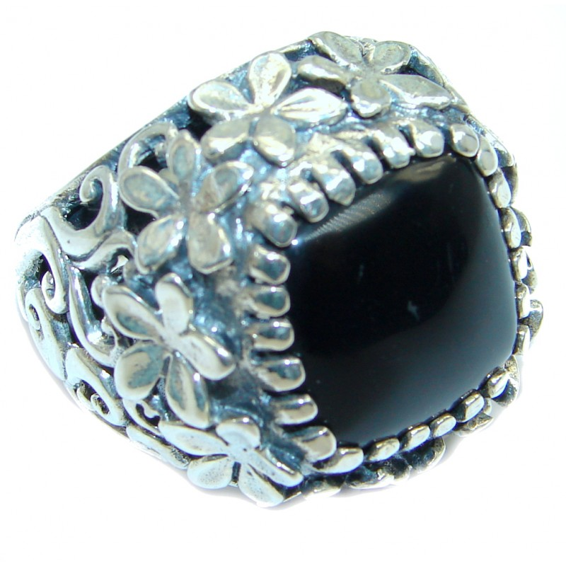 Classy Floral Design Onyx Two Tones Sterling Silver handmade ring size 8