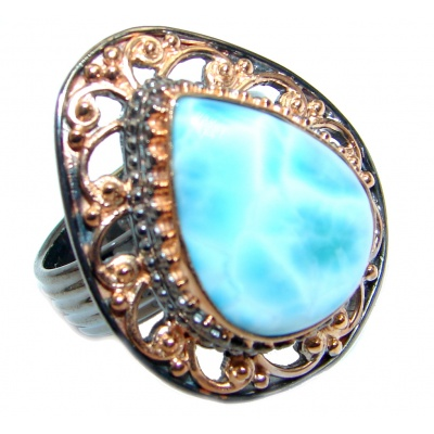 Solid Genuine Larimar Rose Gold plated over Sterling Silver handmade Ring size adjustable