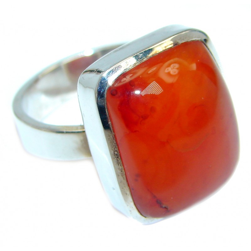 Amazing Genuine Carnelian Sterling Silver Ring 6 1/2