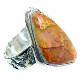 Mexican Fire Opal Oxidized Sterling Silver handmade Ring size 8 1/4