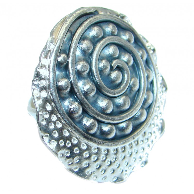 Entire Universe Italy made Oxidized Sterling Silver ring; size adjustable