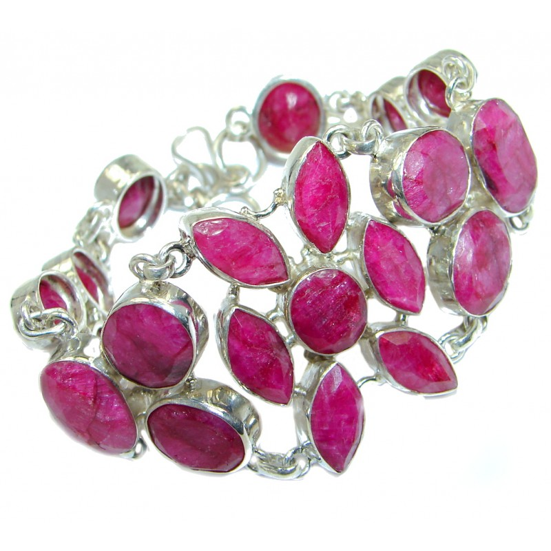 Great Red Ruby Sterling Silver handmade Bracelet
